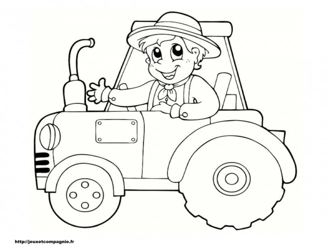 Coloriage et dessins gratuits Petit enfant sur Tracteur à imprimer