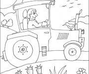 Coloriage Tracteur agricole dans le champs
