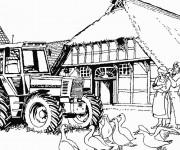 Coloriage et dessins gratuit Tracteur dans la ferme à imprimer