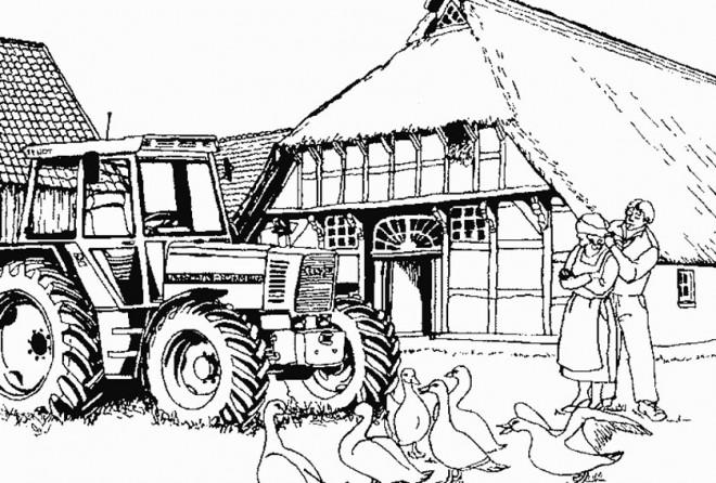 Coloriage et dessins gratuits Tracteur dans la ferme à imprimer