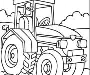 Coloriage et dessins gratuit Tracteur en couleur à imprimer