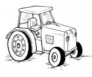 Coloriage Tracteur en noir et blanc