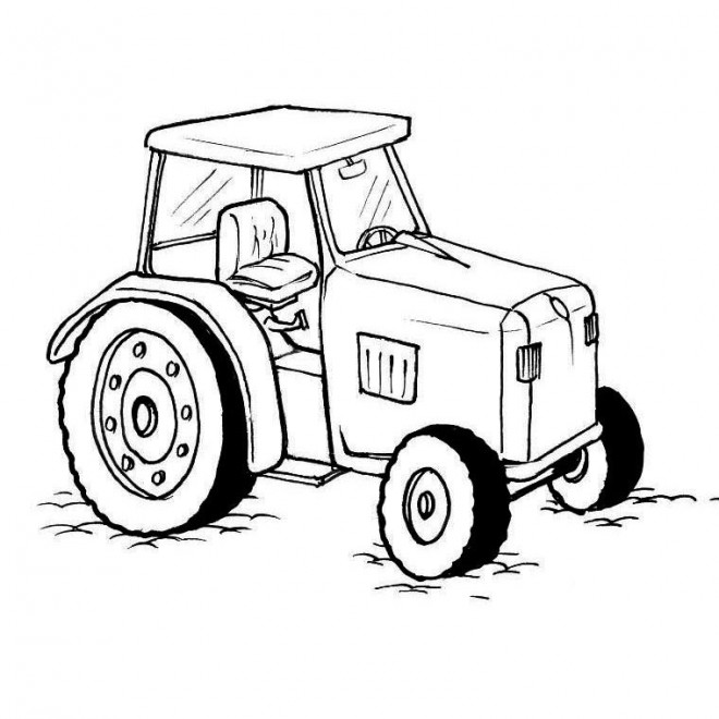 Coloriage tracteur en noir et blanc dessin gratuit imprimer - Coloriage tracteur en ligne ...