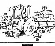 Coloriage et dessins gratuit Tracteur et animaux de ferme à imprimer