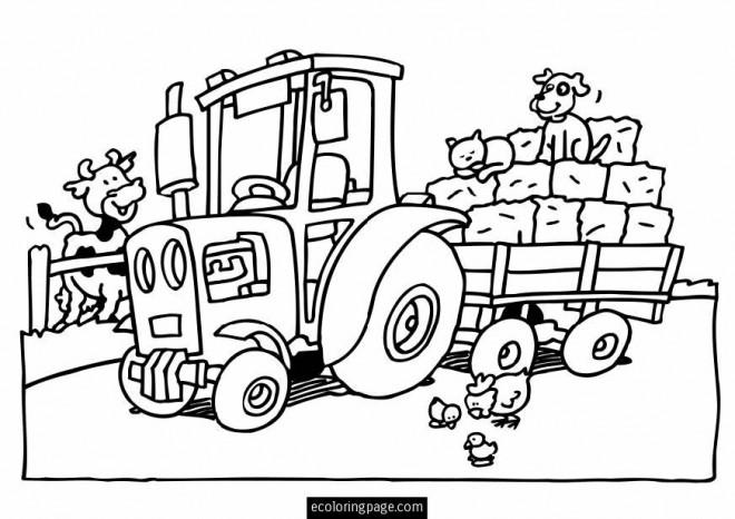 Coloriage tracteur et animaux de ferme dessin gratuit - Coloriage tracteur en ligne ...
