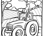 Coloriage Tracteur et La Campagne