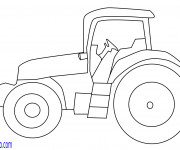 Coloriage Tracteur facilement dessiné
