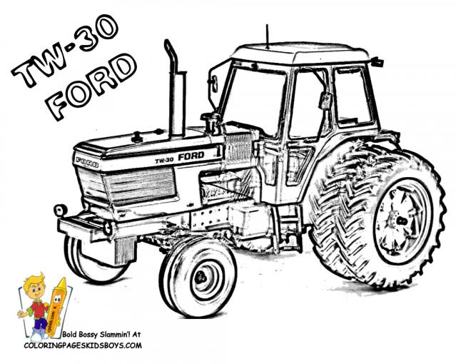 Coloriage Tracteur Ford Dessin Gratuit A Imprimer