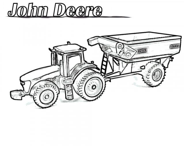 Coloriage tracteur john deere r aliste dessin gratuit imprimer - Coloriage tracteur avec remorque ...