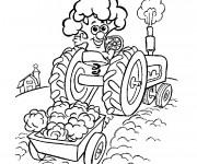 Coloriage Tracteur magique sur le champs