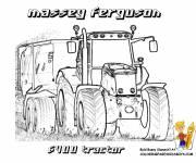Coloriage Tracteur remorque Massey Ferguson