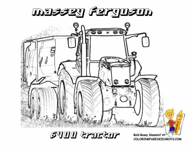 Coloriage Tracteur Remorque Massey Ferguson Dessin Gratuit A Imprimer