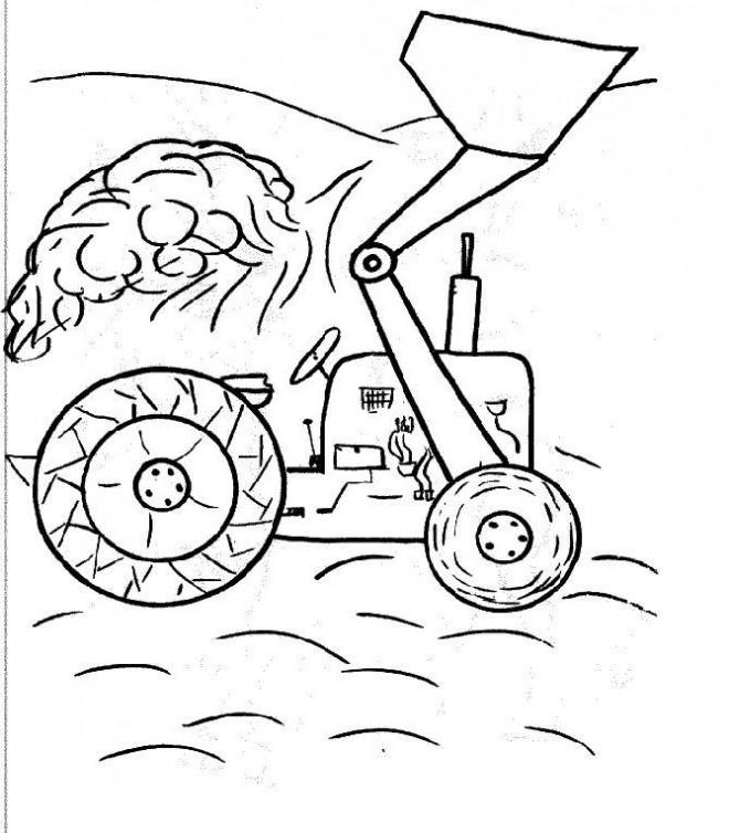 Coloriage et dessins gratuits Un Tractopelle simple à imprimer