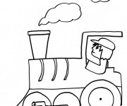 Coloriage Conducteur de Train facile