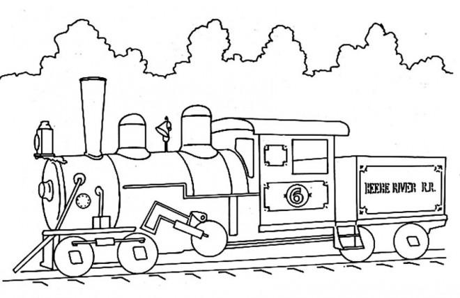 Coloriage et dessins gratuits Illustration Train sur le chemin à imprimer