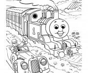 Coloriage La voiture roule près du Train