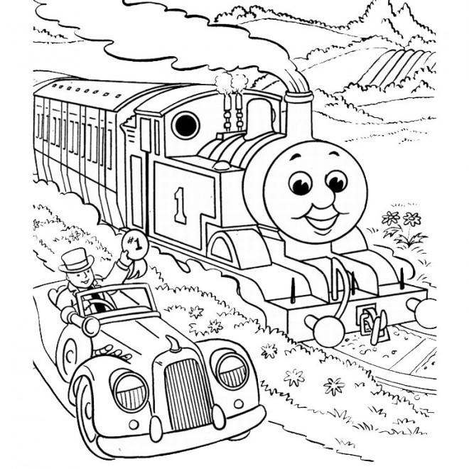 Coloriage et dessins gratuits La voiture roule près du Train à imprimer