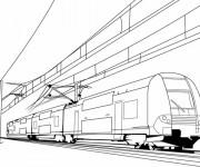 Coloriage Le Train très rapide  sur le chemin de fer