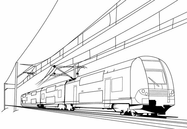 Coloriage et dessins gratuits Le Train très rapide  sur le chemin de fer à imprimer