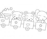 Coloriage Les animaux dans les wagons de Train