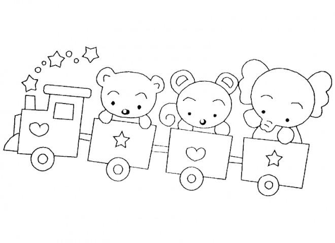 Coloriage et dessins gratuits Les animaux dans les wagons de Train à imprimer