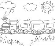 Coloriage Locomotive avec Wagons dans la nature