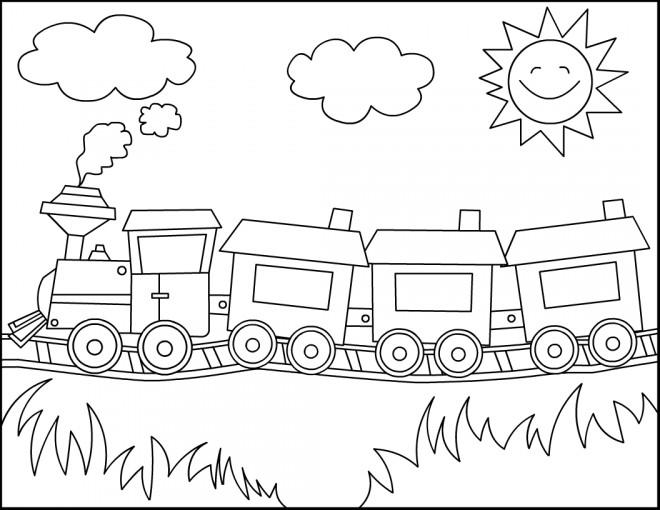 Coloriage et dessins gratuits Locomotive avec Wagons dans la nature à imprimer