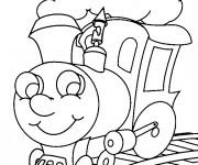 Coloriage Locomotive de Train te regarde