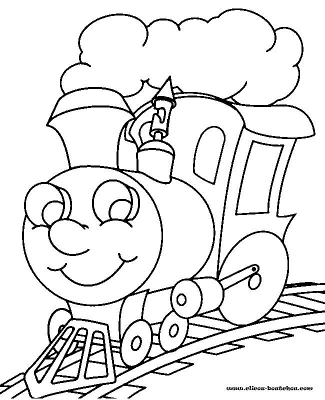 Coloriage et dessins gratuits Locomotive de Train te regarde à imprimer