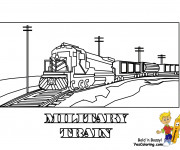 Coloriage Locomotive militaire