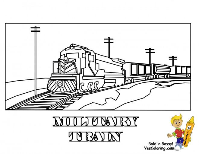 Coloriage et dessins gratuits Locomotive militaire à imprimer