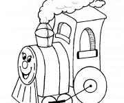 Coloriage Locomotive personnalisée qui sourit