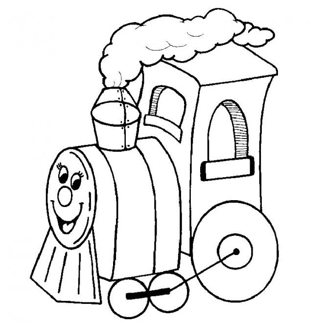Coloriage et dessins gratuits Locomotive personnalisée qui sourit à imprimer