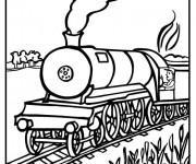Coloriage Paysage de Locomotive de Train