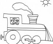 Coloriage Petit garçon dans une Locomotive