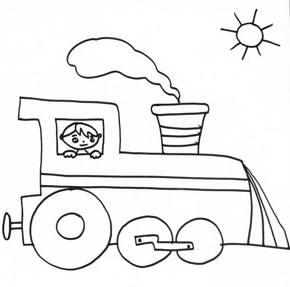 Coloriage et dessins gratuits Petit garçon dans une Locomotive à imprimer