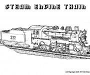 Coloriage Train à vapeur réaliste
