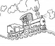 Coloriage Train à vapeur sur le chemin