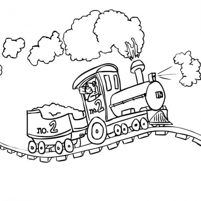 Coloriage train vapeur sur le chemin dessin gratuit imprimer - Coloriage train a vapeur a imprimer ...