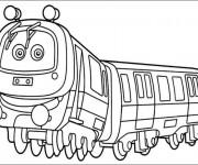 Coloriage Train avec des yeux pour les enfants