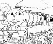 Coloriage Train avec visage