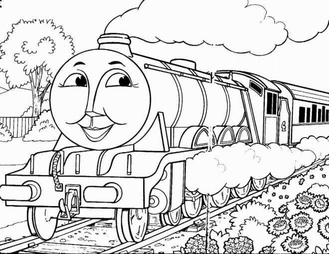 Coloriage et dessins gratuits Train avec visage à imprimer