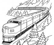 Coloriage Train dans la montagne
