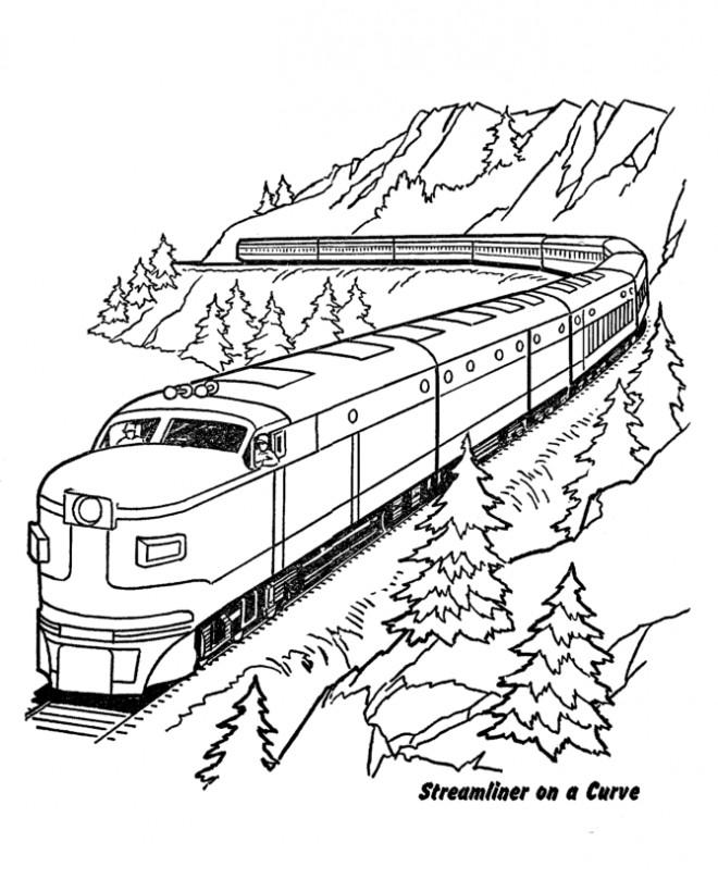 Coloriage Train Dans La Montagne Dessin Gratuit A Imprimer