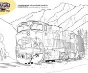 Coloriage Train dans les montagnes canadiennes