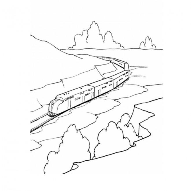Coloriage et dessins gratuits Train de passagers sur le chemin à imprimer