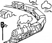 Coloriage Train et la nature