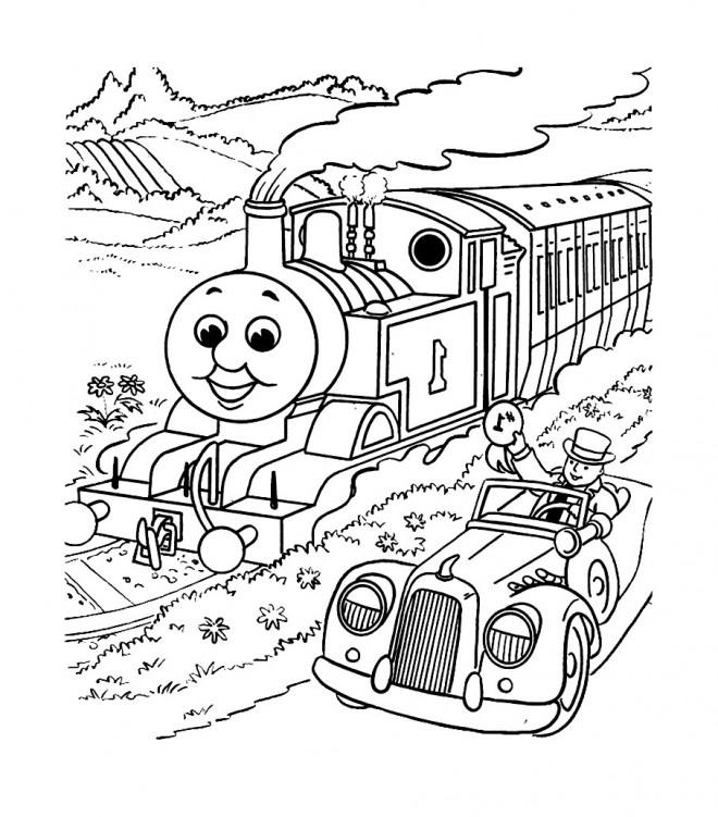 Coloriage train et voiture magiques dessin gratuit imprimer - Dessin de train a imprimer ...