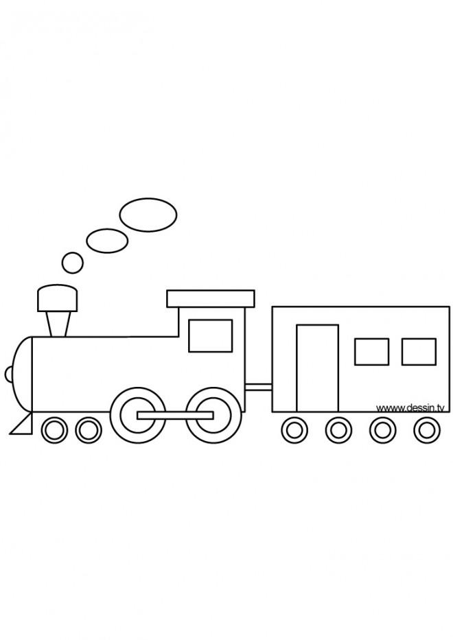Coloriage Tres Facile.Coloriage Train Facile A Dessiner Dessin Gratuit A Imprimer