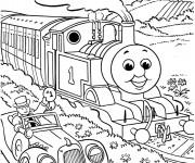 Coloriage Train heureux dans la nature